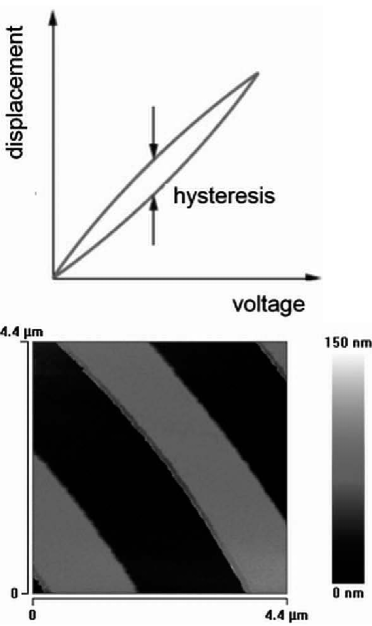 The hysteresis and non-linearity of piezoelectric scanner is observed when the piezoelectric scanner response