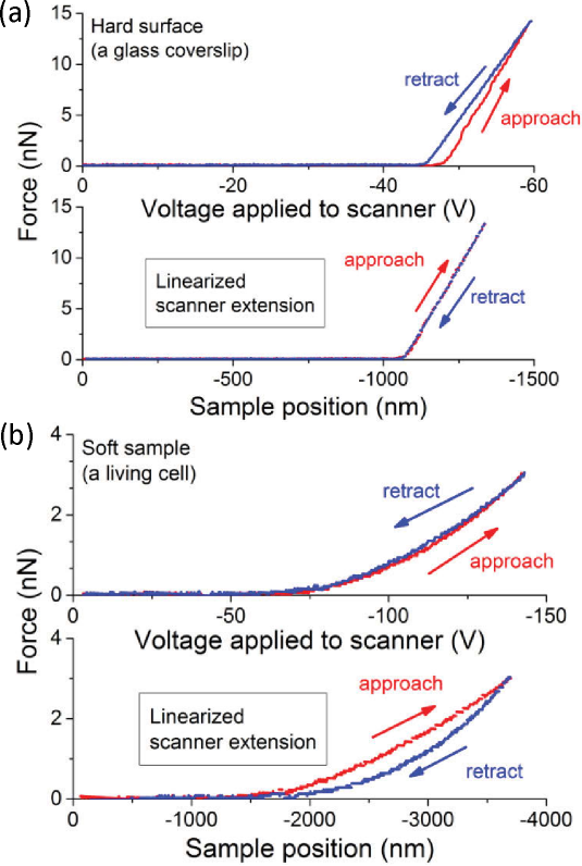 The influence of the hysteresis and piezoelectric scanner nonlinearity in force curves recorded using AFM force spectroscopy mode on