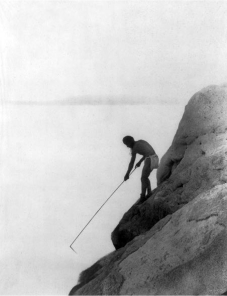 "Fishing was an important aspect of life, and would have been accomplished through either fishing from the coast or through the use of watercraft. ""Fishing with a gaff-hook-Paviotso."" Credit"