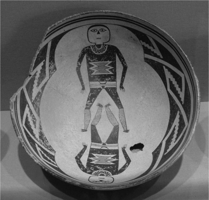 Pottery image depicting two human figures on a Mimbres pot circa AD 1000 from the Mogollon culture