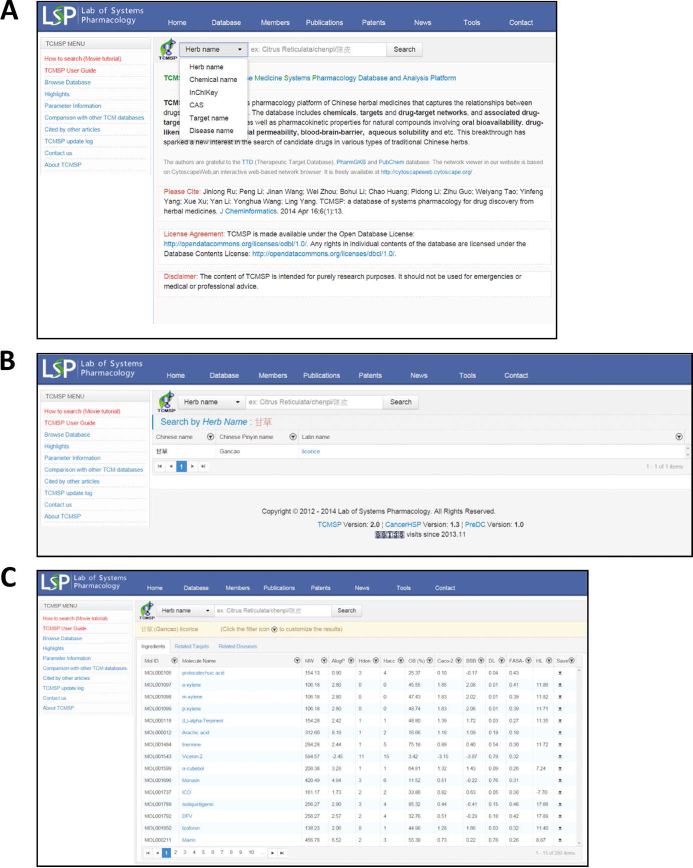 (A) The homepage of TCMSP, (B) search results and (C) the ingredients