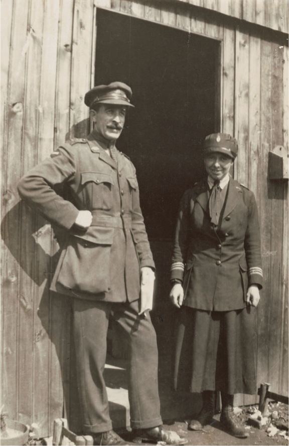 Peggy Murdoch and the Quartermaster standing outside the Australian Red Cross Store at the 3rd Australian General Hospital, Abbeville, France. (AWM H13604.)