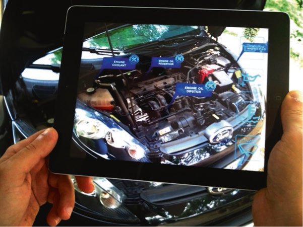 Augmented reality guide to find parts and check items in a car (Source