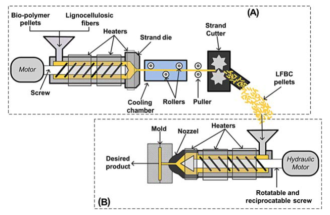 Schematic of (A) extrusion and (B) injection molding machine