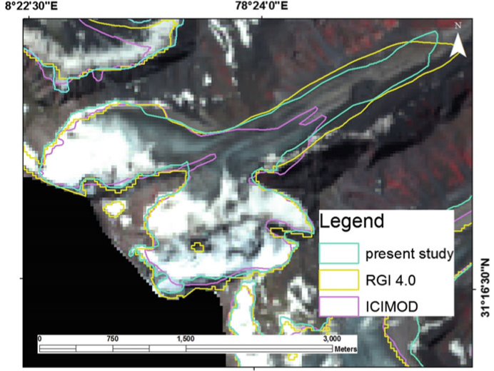 Glacier outline from the inventory of the International Centre for Integrated Mountain Development