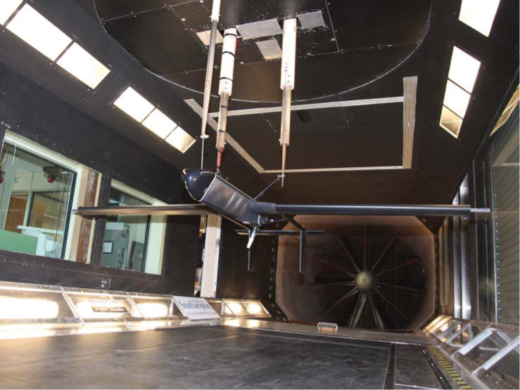Decode-1 in the R.J. Mitchell wind tunnel with wheels and wing tips removed and electric motor for propeller drive