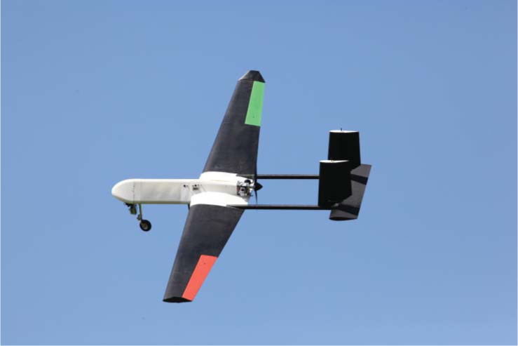 Decode-1 in flight with nose camera fitted