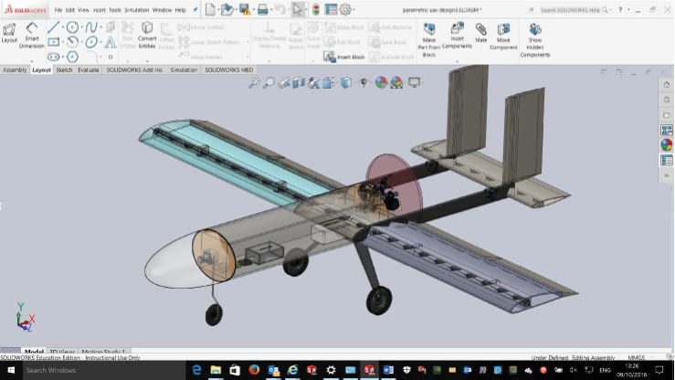 Illustrative student UAV assembly