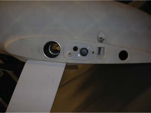 Wing attachment on SPOTTER fuselage. Note the recess for square torque peg with locking pin between main and rear spar holes