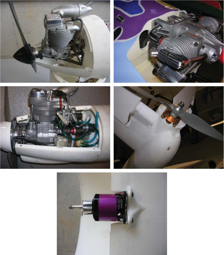 Typical engine and motor mounts for SLS nylon fuselages and nacelles. Note the steel engine bearer in first view, engine hours meter in second image, and vibration isolation in third setup