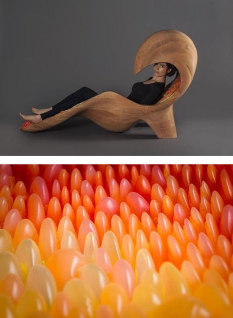 The Gemini Acoustic Chaise was 3D printed on a Stratasys Objet500 Connex3 3D printer and mounted on a CNC milled wood back