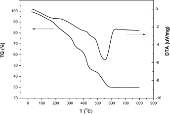 DTA/TG curves of the TiO nanocrystal precursor of the sample