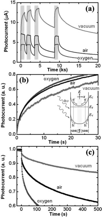 (a) Different photocurrent responses of GaN NWs to 325-nm UV excitation measured in vacuum, air, and pure oxygen