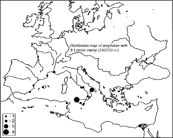 Distribution map of the amphora stamps of Trebios Loisios