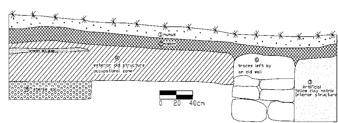 Northern stratigraphic profile of the Western Plaza in the Cuzcotuyo complex