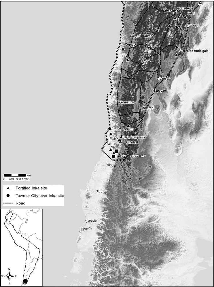Location of main Inka sites in the Southern Inka frontier, in today's Chile