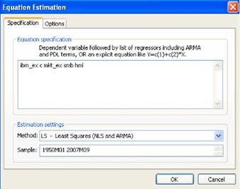 Regression estimation dialog window