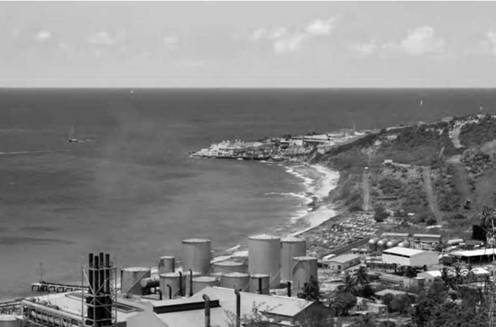 A desalination plant in the Caribbean pumps salt water out of the ocean and makes it suitable for drinking.