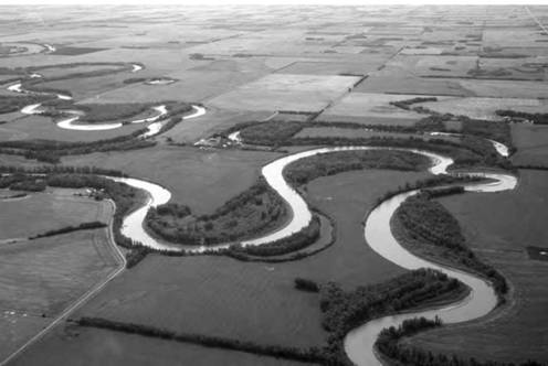 A perfect example of a meandering river—this one flowing through Alberta, Canada.