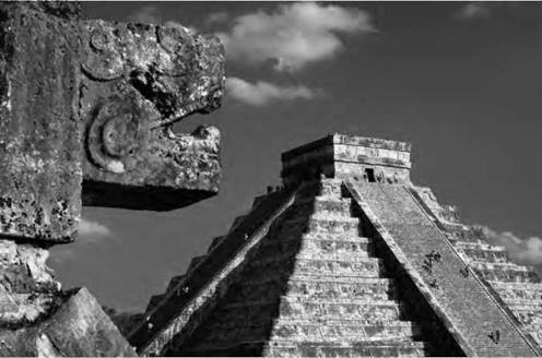 The ancient Mayans were fascinated with measuring time, and even their pyramids were constructed to mark the time of equinoxes. The pyramid of Chichen Itza cast a shadow that reached the snakehead (foreground) at equinox.