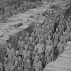 The Terracotta Army, created in the third century B.C.E., was discovered buried near Xian, China (image courtesy of Maros Mraz/GNU free documentation license).