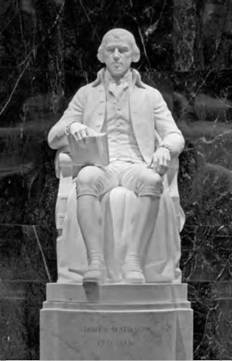 A statue of James Madison by Walker K. Hancock is on display at Memorial Hall in Washington, DC. Madison is often remembered as the Father of the Bill of Rights (Library of Congress).