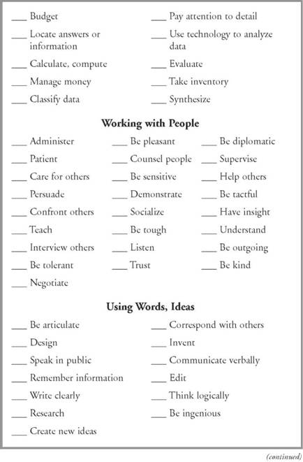 Job description and transferable skills worksheet